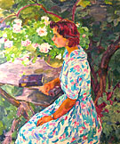 A Girl in the Garden. 1964. Painting of Evgenia P. Antipova